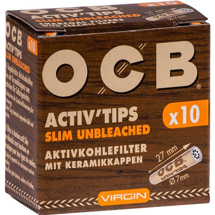 OCB Activ'Tips Slim Unbleached 7 mm 10 Stück