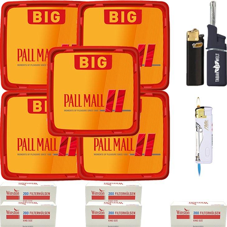 Pall Mall Allround Red 5 x 120g mit 1000 King Size Hülsen