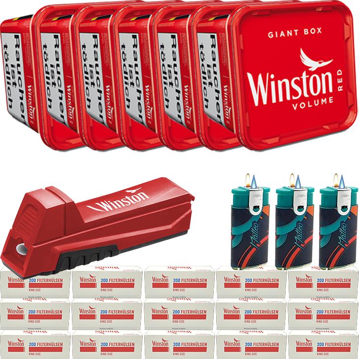 Winston Giant Box 6 x 260g mit 3000 King Size Hülsen
