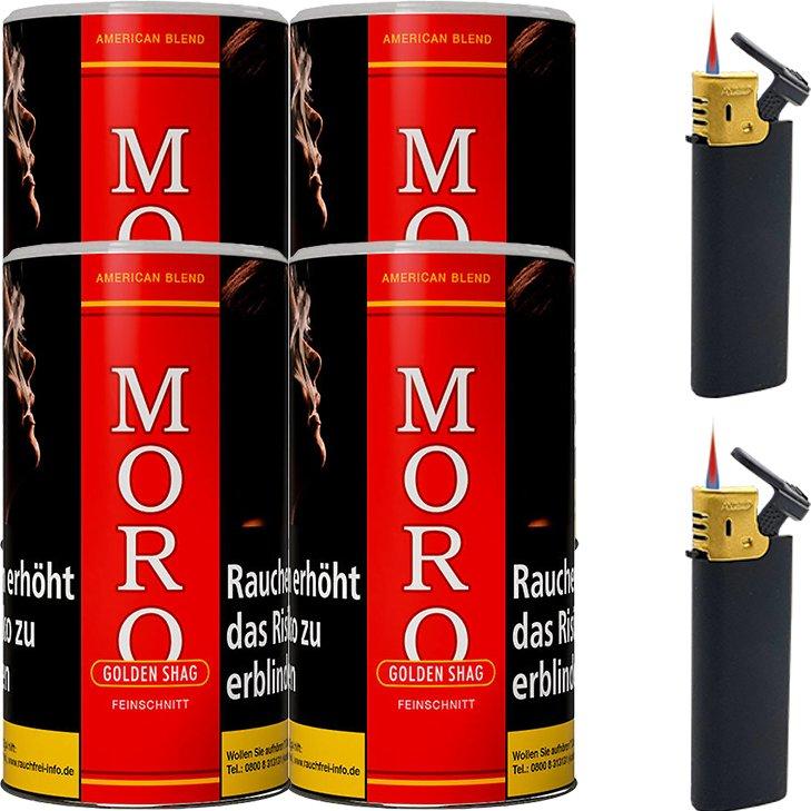 Moro Rot Feinschnittabak 4 x 180g mit Feuerzeugen
