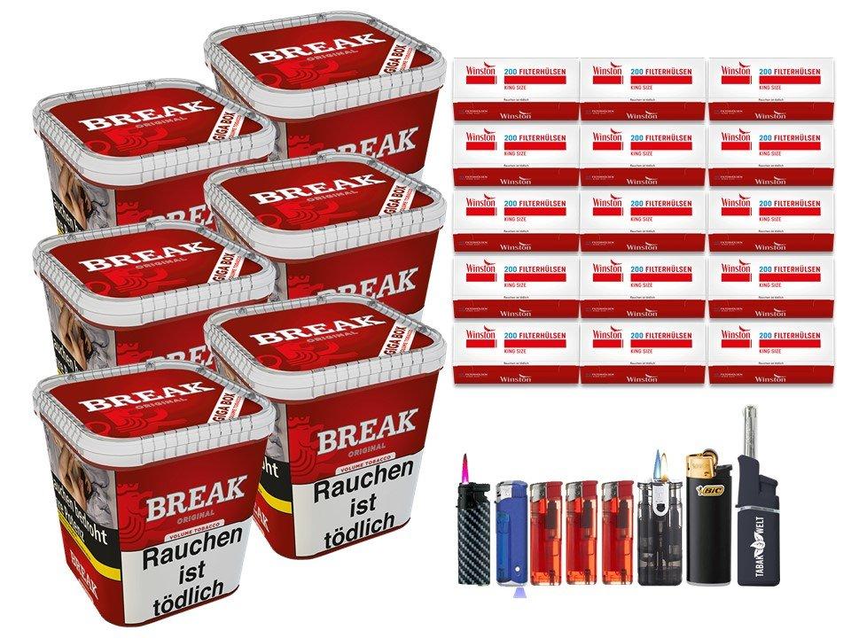 Break Original 6 x 230g Volumentabak 3000 King Size Filterhülsen Uvm.