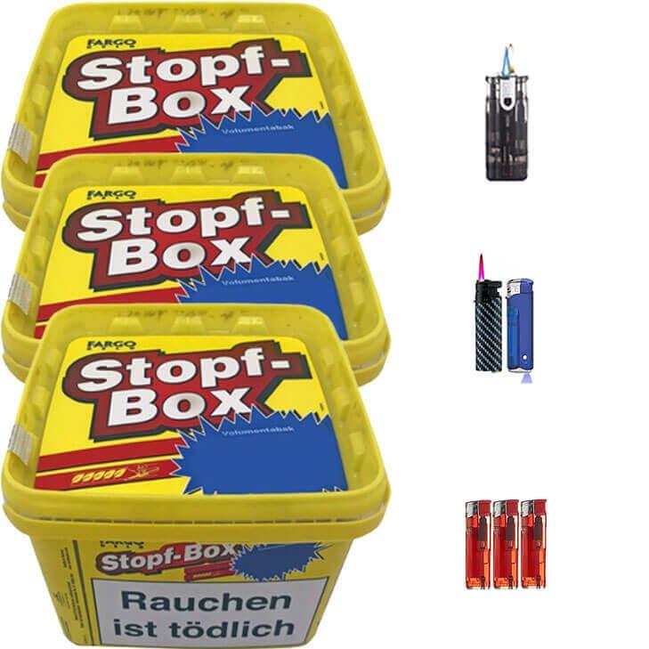 Fargo Stopfbox 3 x 185g Volumentabak Feuerzeug Set