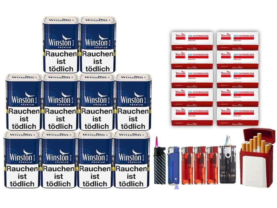 Winston Premium Blue 10 x 90g Feinschnitt 2000 Winston Filterhülsen Uvm.