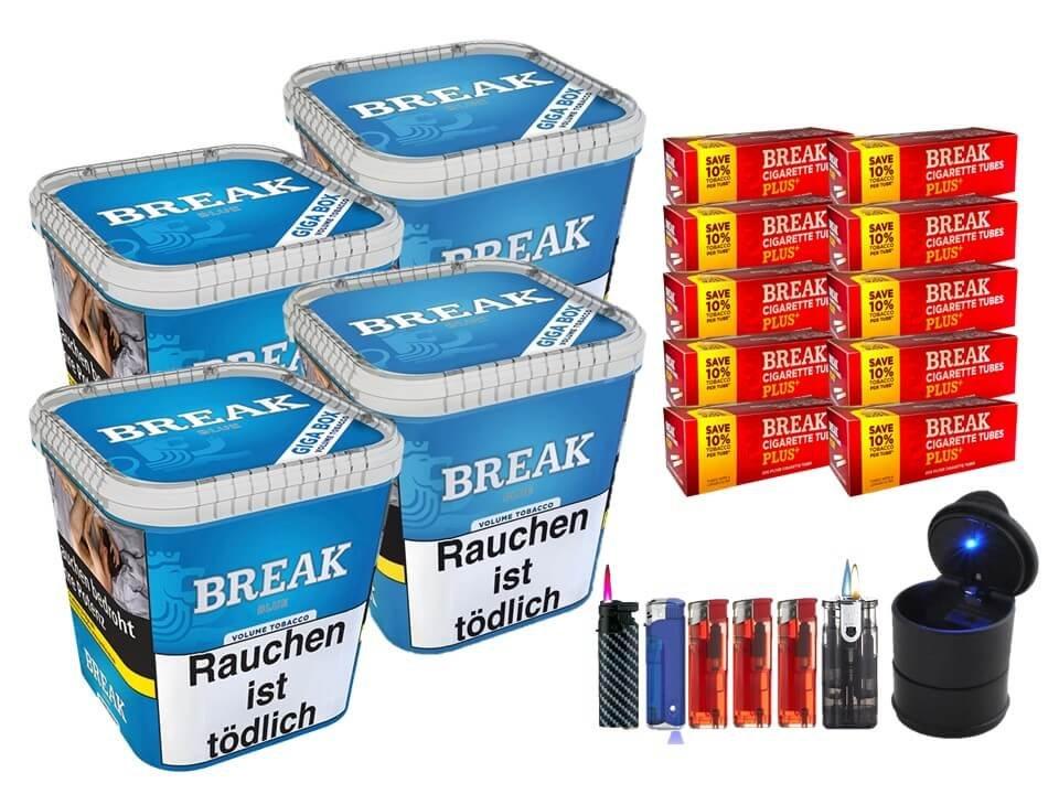 Break Blue / Blau 4 x 230g Volumentabak 2000 Break Xtra Plus Filterhülsen Uvm.
