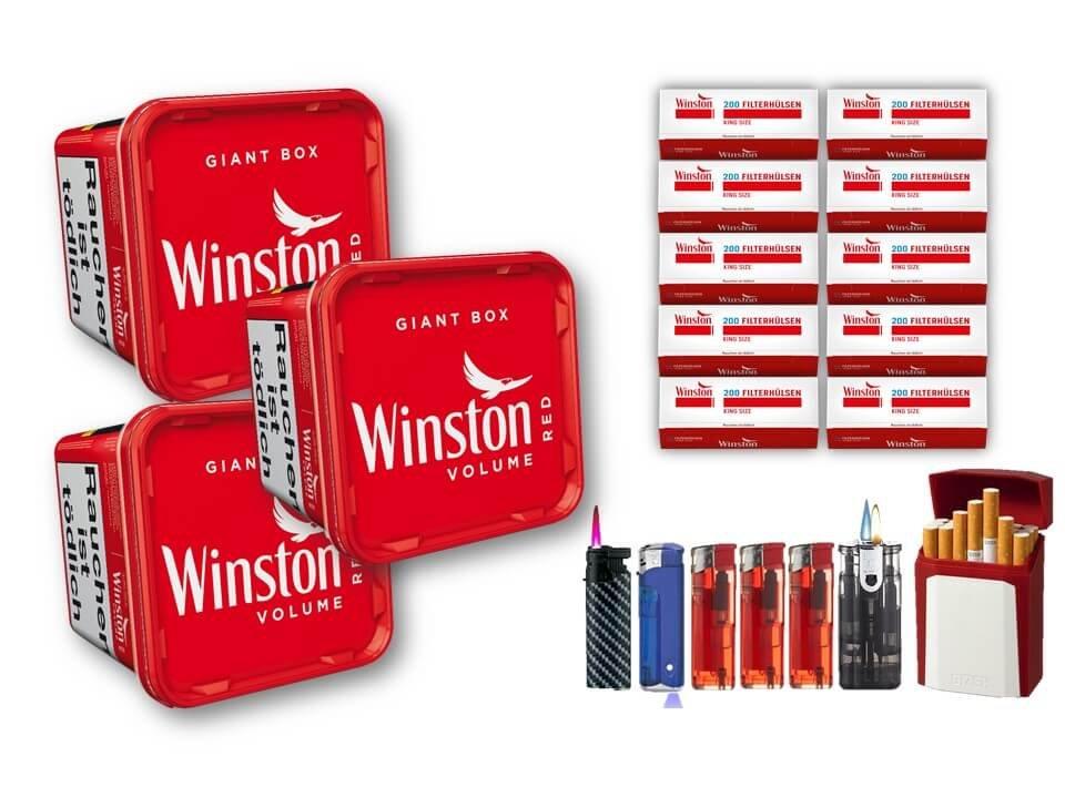Winston Giant Box 3 x 260g Volumentabak 2000 Winston Filterhülsen Uvm.