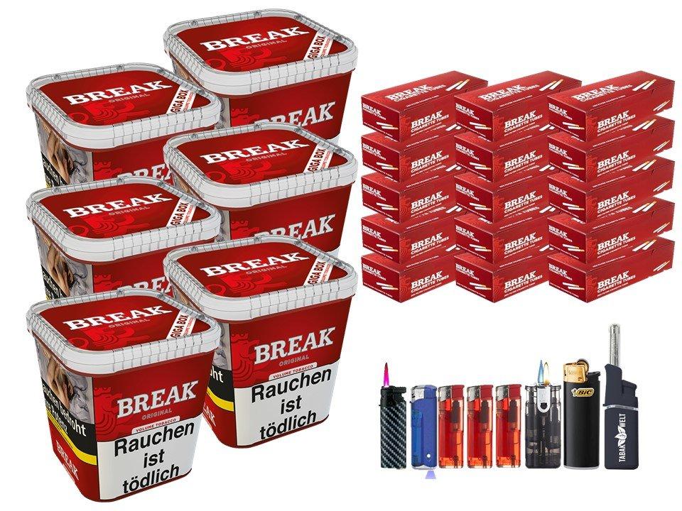 Break Original 6 x 230g Volumentabak 3000 Break Filterhülsen Uvm.