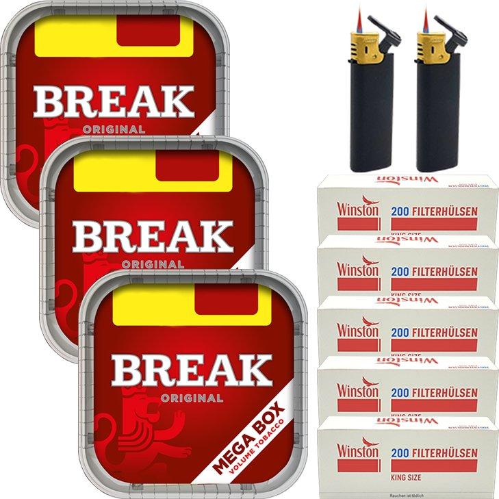 Break Original 3 x 170g mit 1000 King Size Hülsen