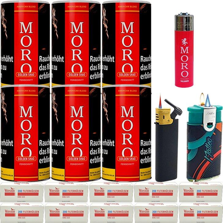 Moro Rot Feinschnittabak 6 x 180g mit 2000 King Size Hülsen