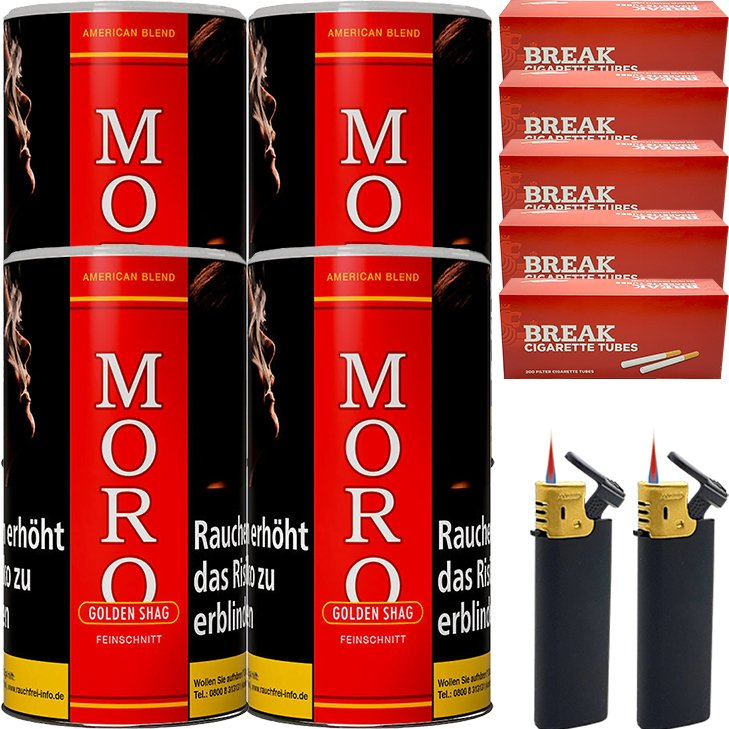 Moro Rot Feinschnittabak 4 x 180g mit 1000 Hülsen