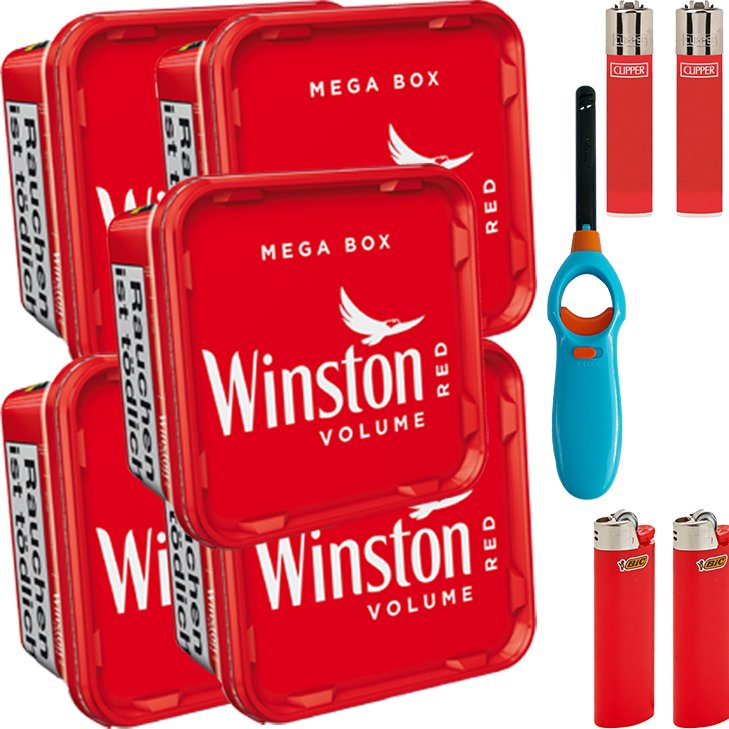 Winston Mega Box 5 x 155g mit Feuerzeugen