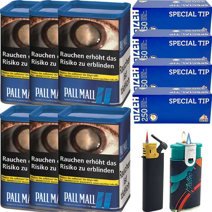 Pall Mall Blue XL 6 x 55g mit 1000 Hülsen