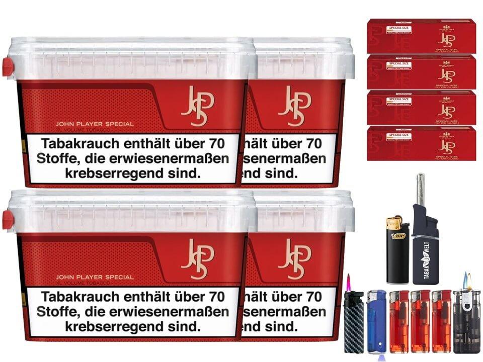 JPS John Player Mega Box 4 x 127g Volumentabak 1000 Filterhülsen Uvm.