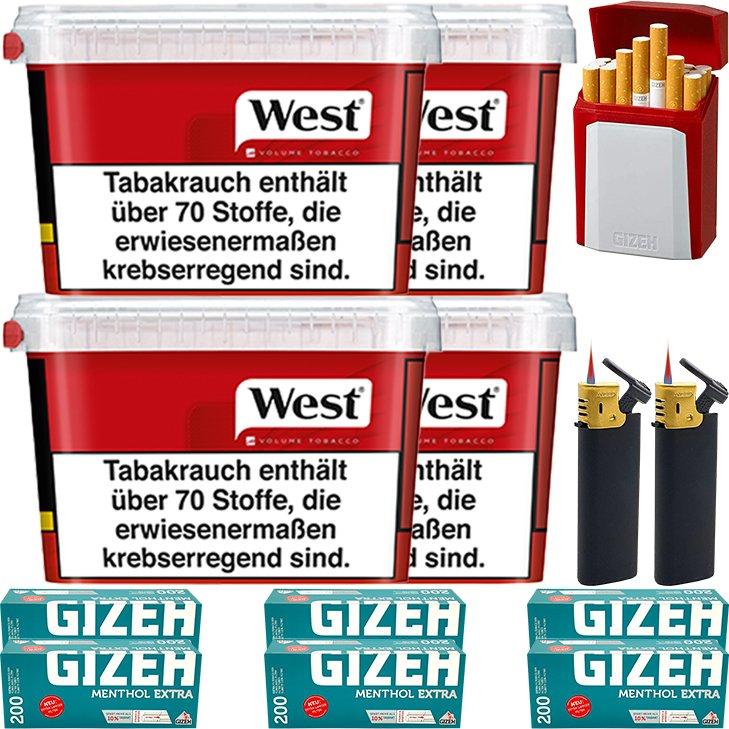West Red 4 x 170g mit 1200 Menthol Extra Size Hülsen
