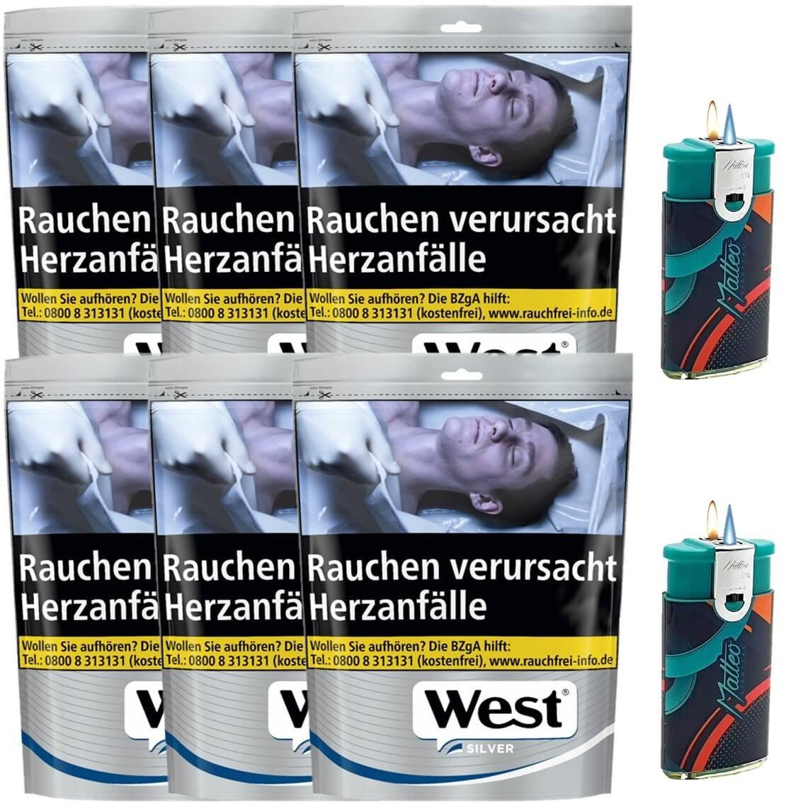 West Silver 6 x 96g mit Feuerzeug