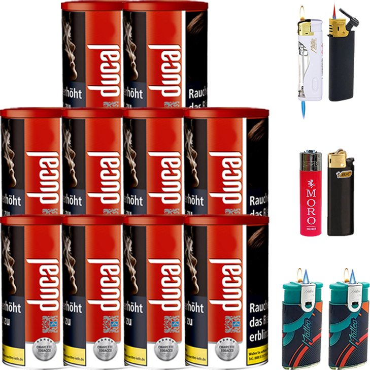 Ducal Red 10 x 200g mit Feuerzeugen