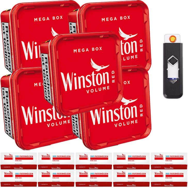 Winston Mega Box 5 x 155g Volumentabak 2000 King Size Filterhülsen Feuerzeug