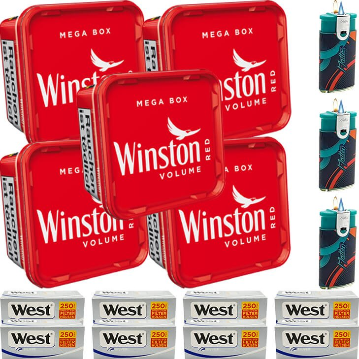 Winston Mega Box 5 x 155g mit 2000 Silver Special Size Hülsen