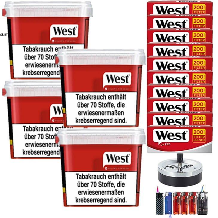West Red 4 x 280g mit 2000 King Size Hülsen