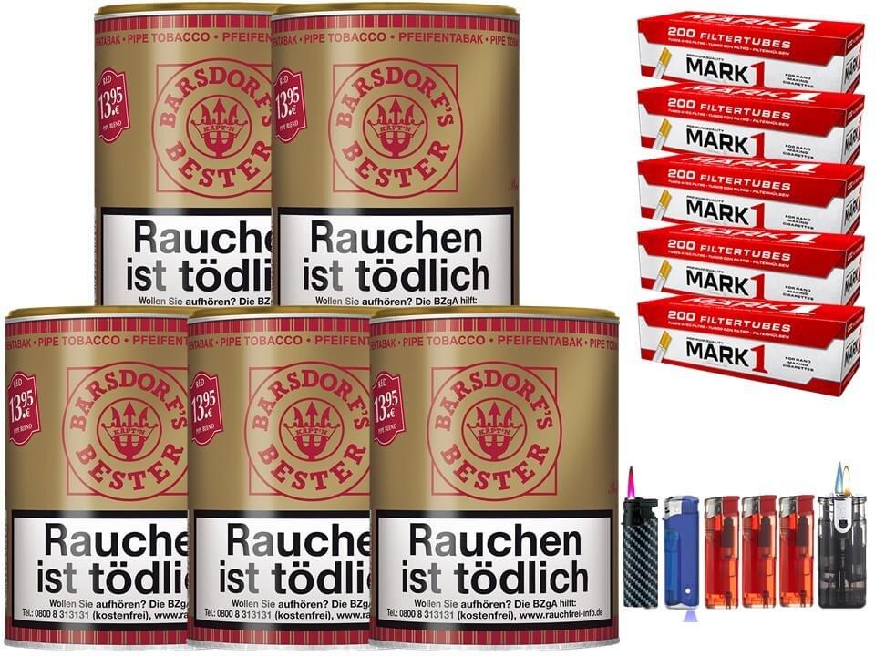 Barsdorf´s Bester Cherry / Red 5 x 160g Pfeifentabak 1000 Filterhülsen Uvm.