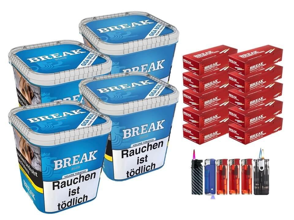 Break Blue / Blau 4 x 230g Volumentabak 2000 Break Filterhülsen Uvm.