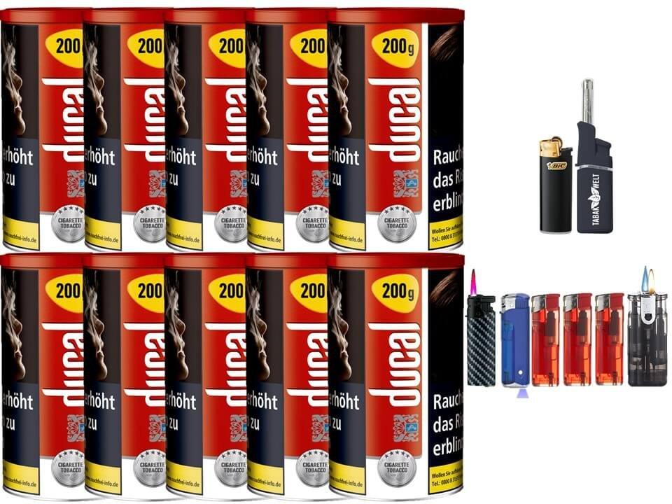 Ducal Red / Rot 10 x 200g Feinschnitt / Zigarettentabak Feuerzeug Set