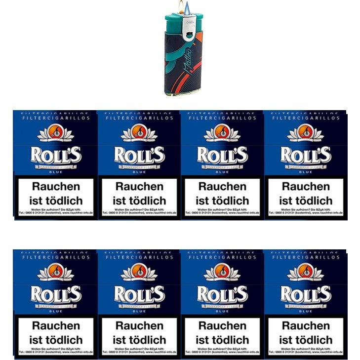 Rolls Blue Naturdeckblatt Zigarillos mit Filter (2 Stangen) 16 x 23 Stück