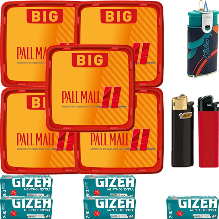 Pall Mall Allround Red 5 x 120g mit 1000 Menthol Extra Hülsen