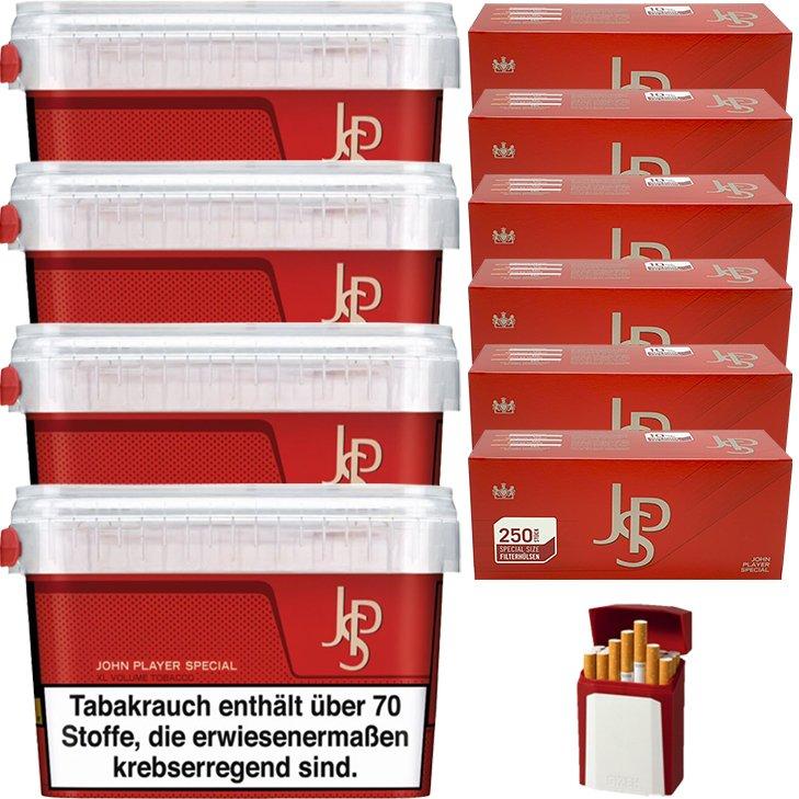 JPS John Player Mega Box 4 x 150g Volumentabak 1500 Special Size Filterhülsen Uvm.