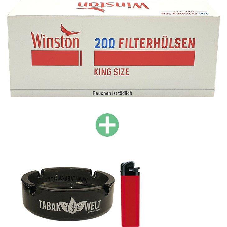 Winston King Size Filterhülsen 10 x 200er mit Glasaschenbecher