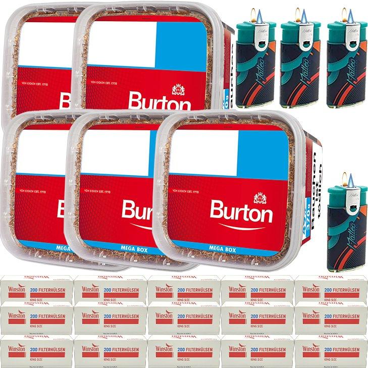 Burton 5 x 350g mit 3000 King Size Hülsen