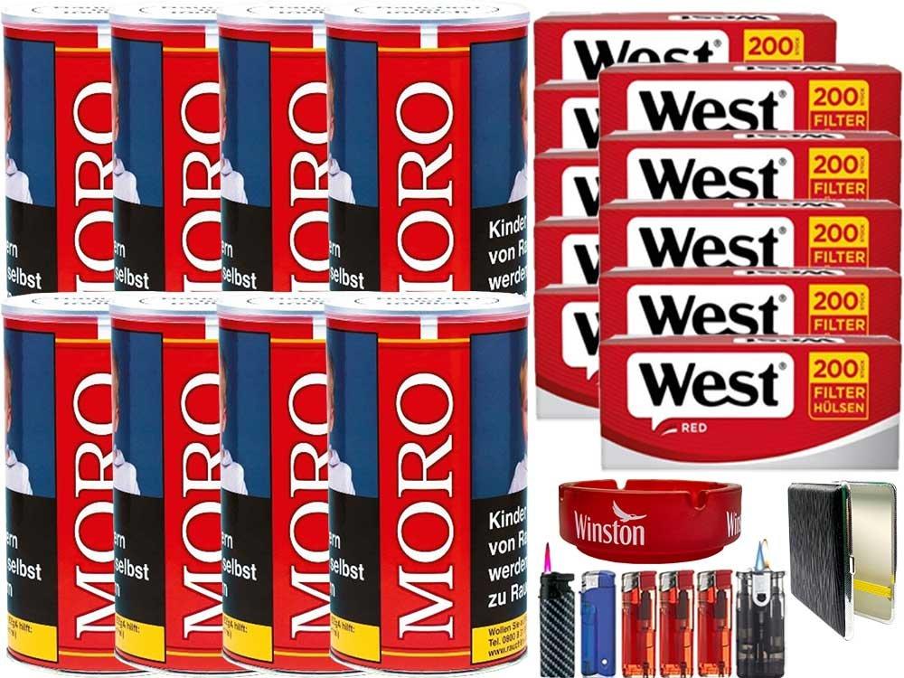 Moro Rot 8 x 180g mit 2000 King Size Hülsen