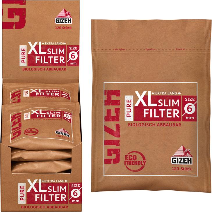 Gizeh Pure XL Slim Filter 6 mm 10 x 120 Stück