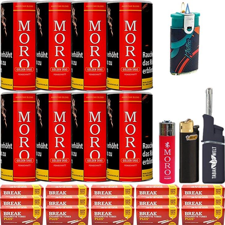 Moro Rot Feinschnittabak 8 x 180g mit 3000 Plus Hülsen