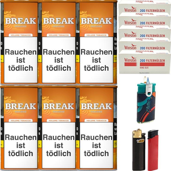 Break Orange 6 x 110g mit 1000 King Size Hülsen