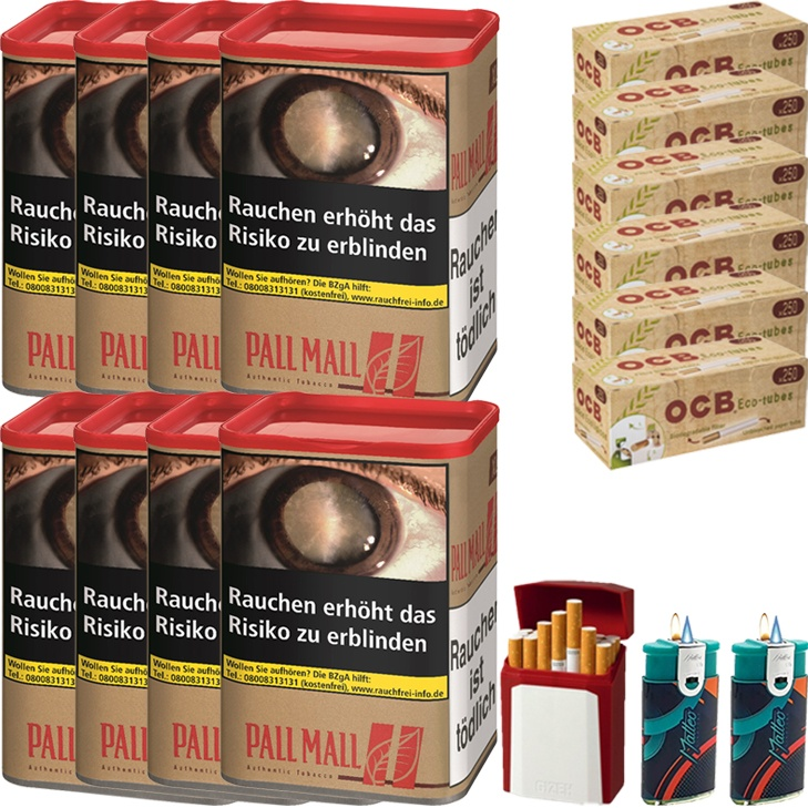 Pall Mall Authentic Red XL 8 x 55g mit 1500 Eco-Tubes Hülsen