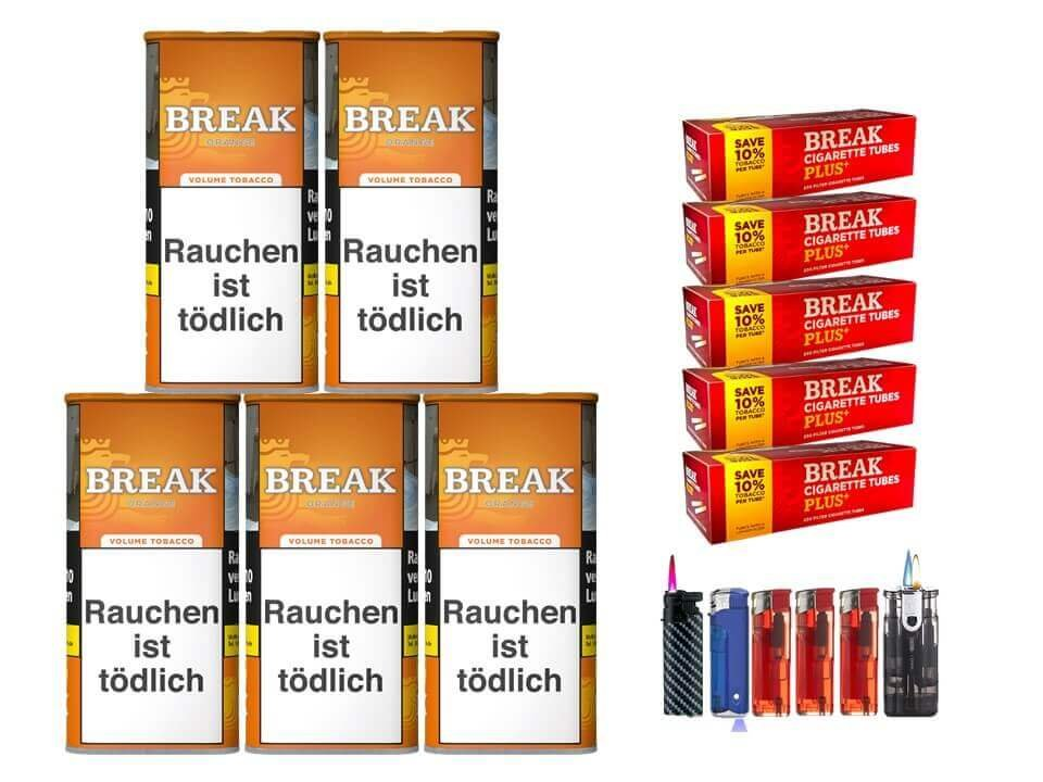 Break Orange 5 x 110g Volumentabak 1000 Break Xtra Plus Filterhülsen Uvm.