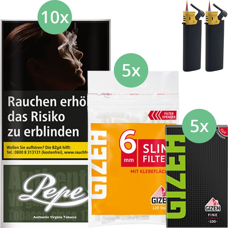 Pepe Dark Green 10 x 30g mit Gizeh Blättchen und Filter