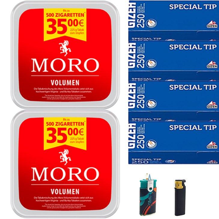 Moro Volumen 2 x 225g mit 1000 Special Tip Hülsen