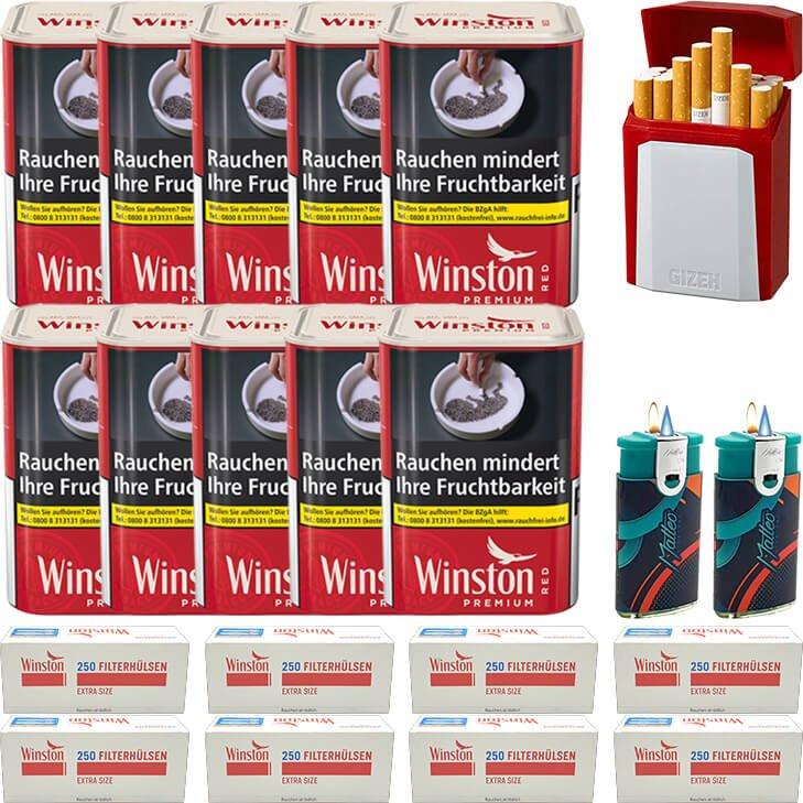 Winston Premium Red 10 x 90g mit 2000 Special Size Hülsen