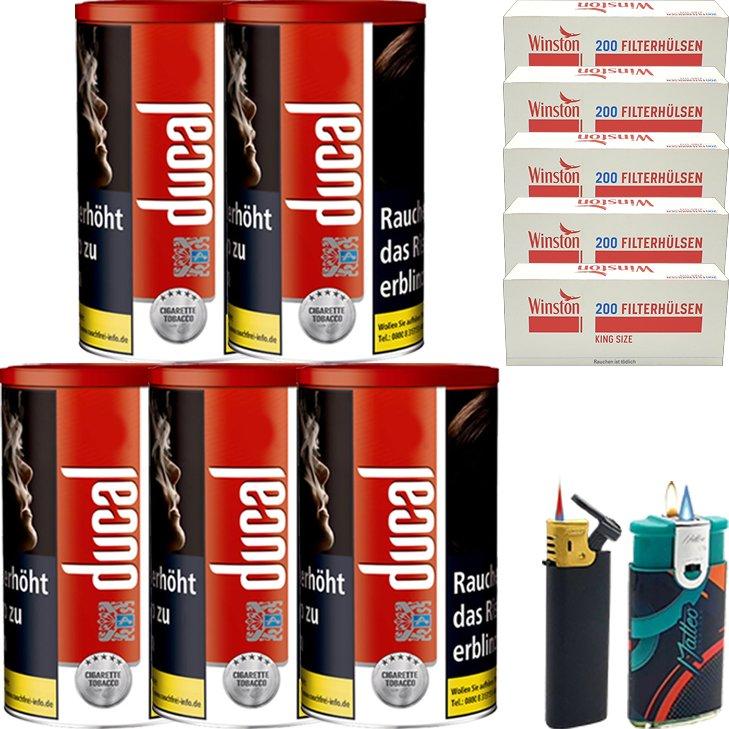 Ducal Red 5 x 200g mit 1000 King Size Filterhülsen