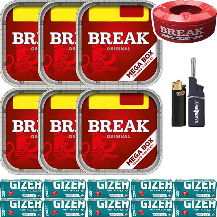 Break Original 6 x 170g mit 2000 Menthol Extra Hülsen
