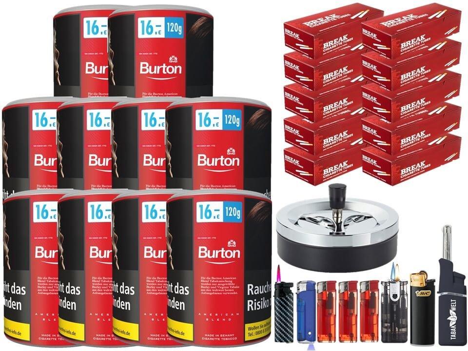 Burton Original 10 x 120g Feinschnitt Tabak 2000 Filterhülsen Uvm.