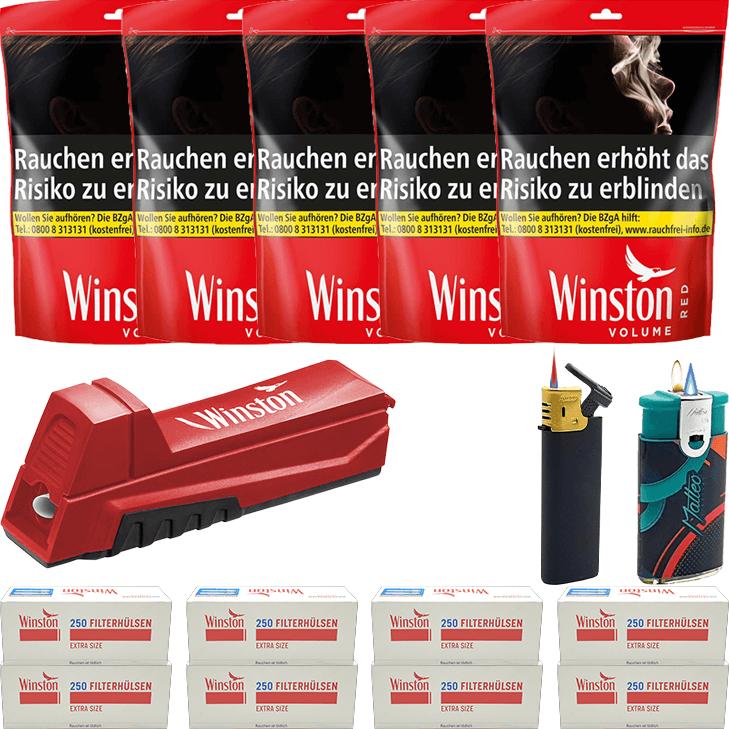 Winston Red 5 x 185g mit 2000 Special Size Hülsen