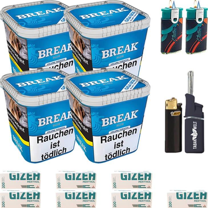 Break Blue 4 x 230g mit 1400 Menthol Hülsen