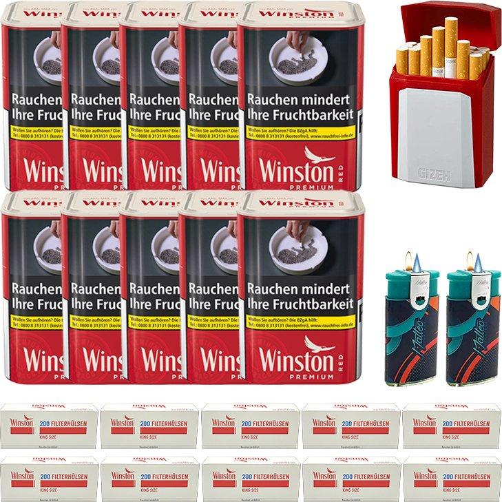 Winston Premium Red 10 x 90g mit 2000 King Size Hülsen