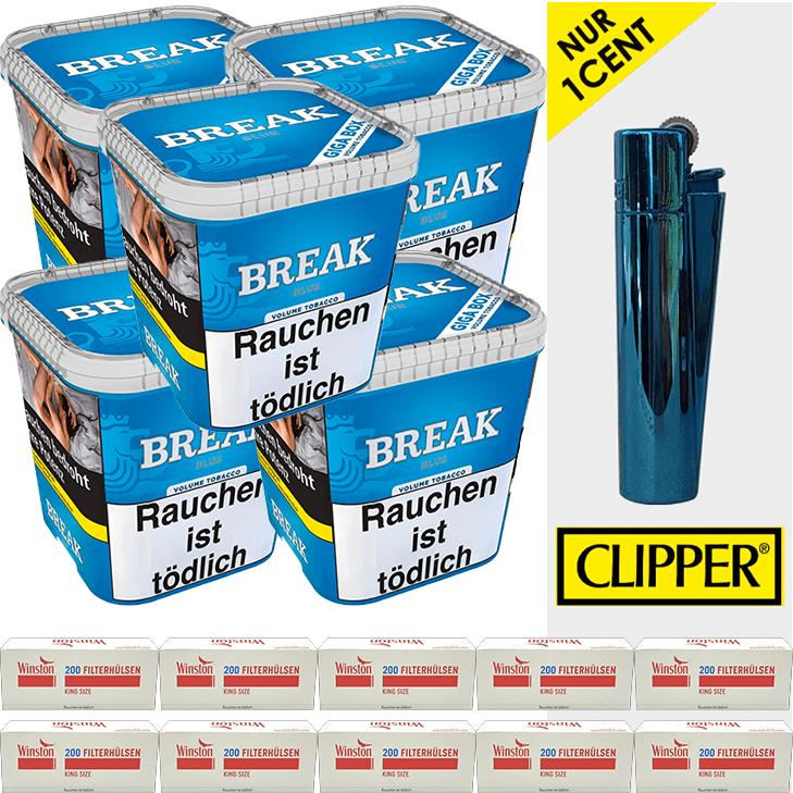 Break Blue / Blau 5 x 230g mit 2000 King Size Hülsen