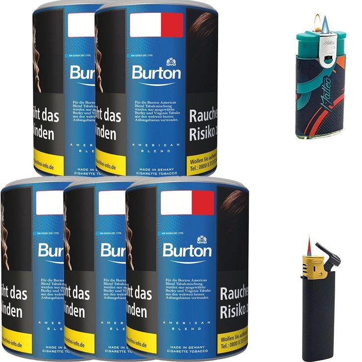 Burton Blue / Blau 5 x 120g mit Feuerzeugen