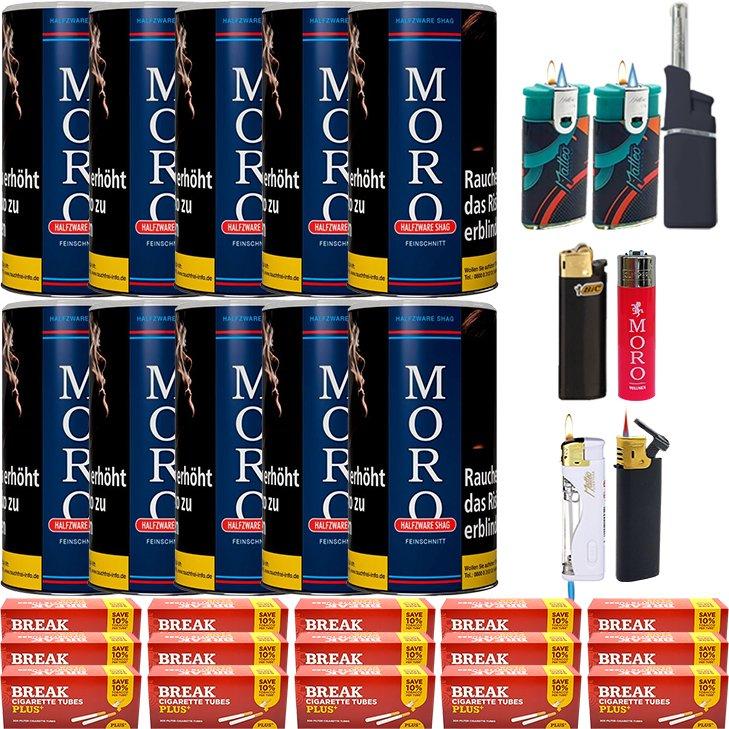 Moro Blau Feinschnittabak 10 x 180g mit 3000 Plus Hülsen