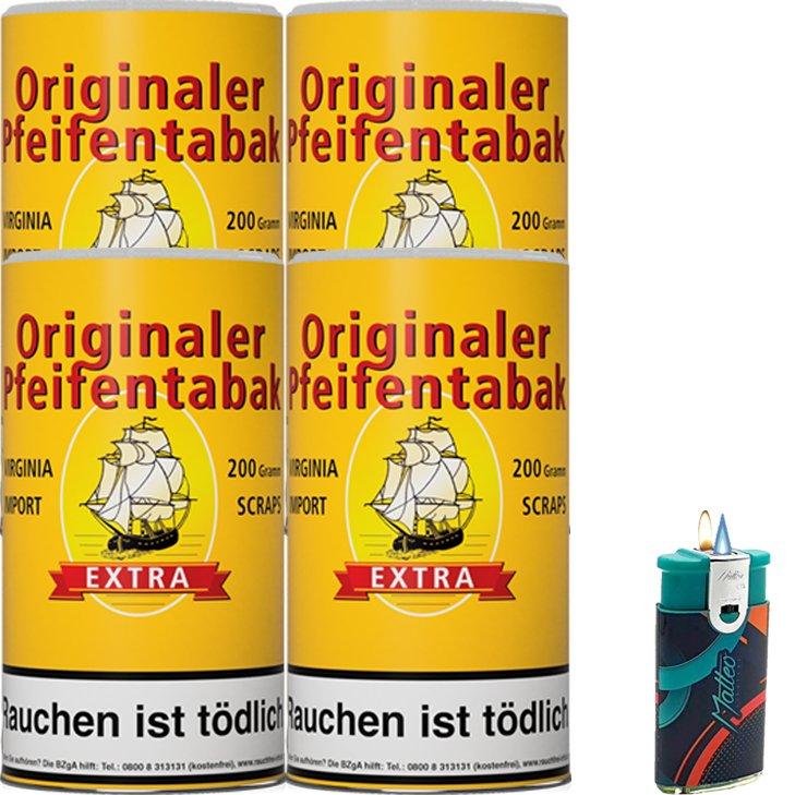 Originaler Pfeifentabak 4 x 200g mit Duo Feuerzeug