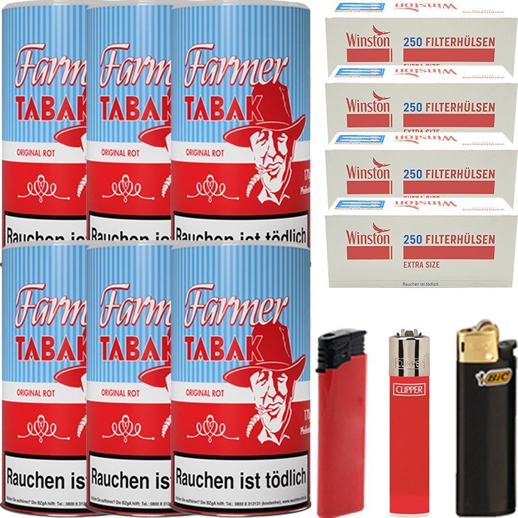 Farmer 6 x 160g Pfeifentabak Rot mit 1000 Extra Size Hülsen
